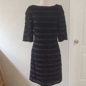 Rachel Roy black/blue striped sheer sleeves dress